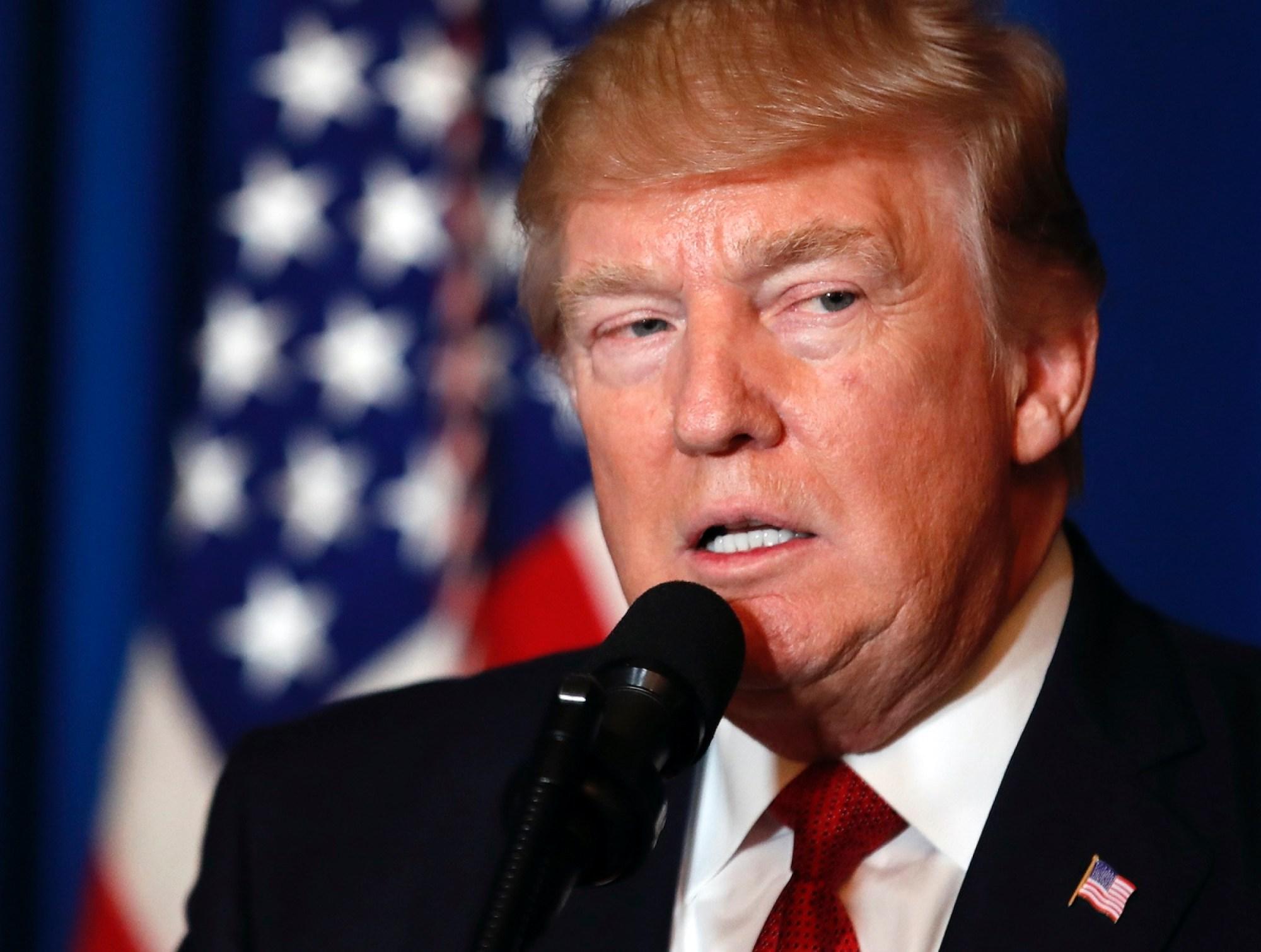 President Donald Trump speaks at Mar-a-Lago, Thursday, April 6, 2017, in Palm Beach, Fla. (AP Photo/AlexBrandon)