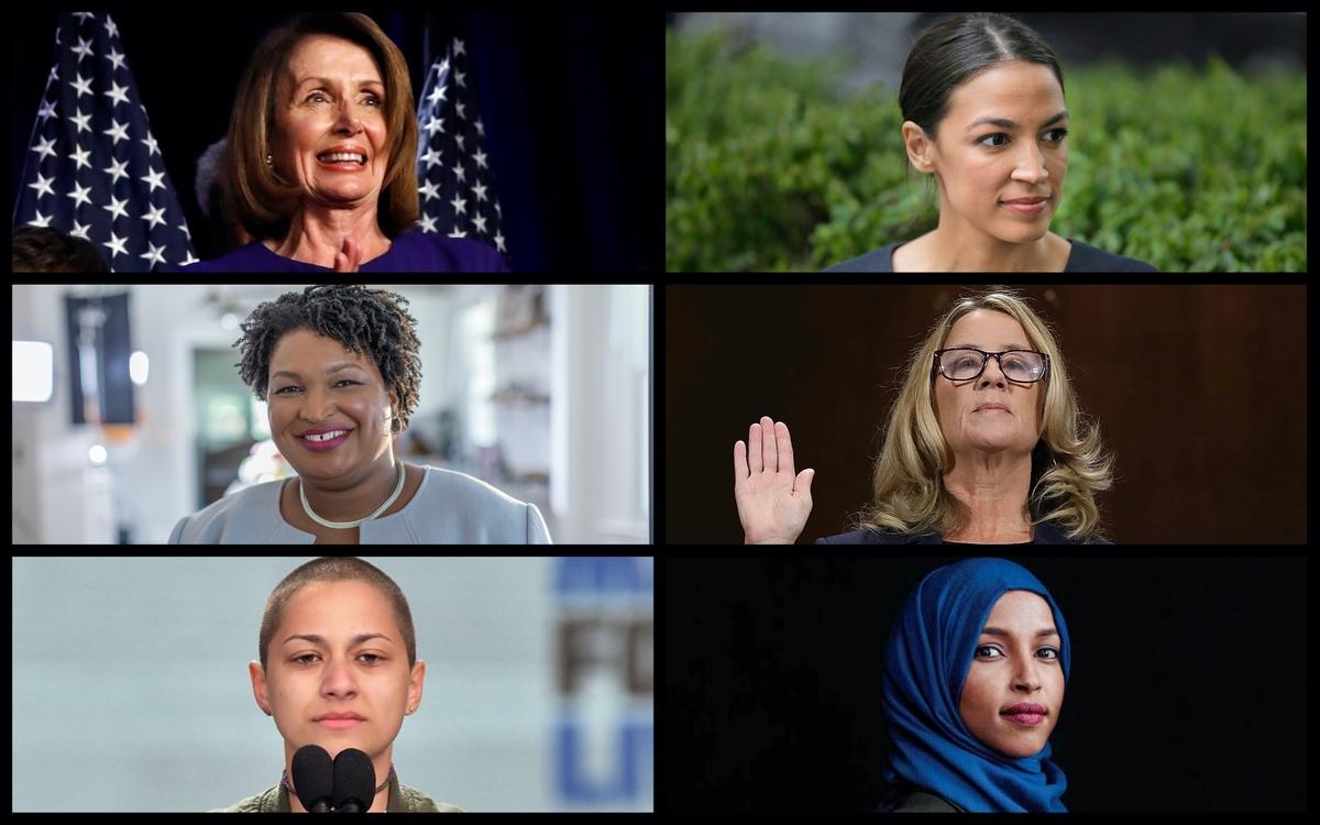 From top left: Nancy Pelosi, Alexandria Ocasio-Cortez, Stacey Abrams, Emma Gonzalez, and Ilhan Omar. (AP)