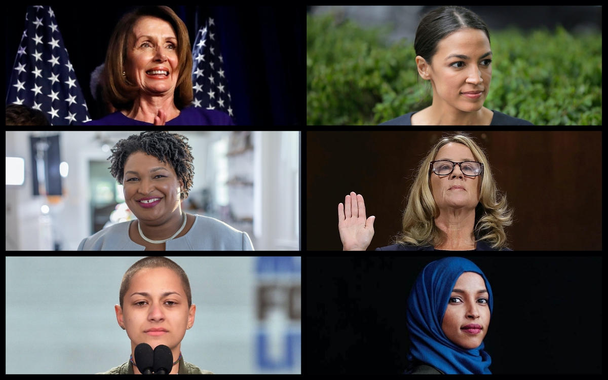 From top left: Nancy Pelosi, Alexandria Ocasio-Cortez, Stacey Abrams, Emma Gonzalez, and Ilhan Omar. (AP)