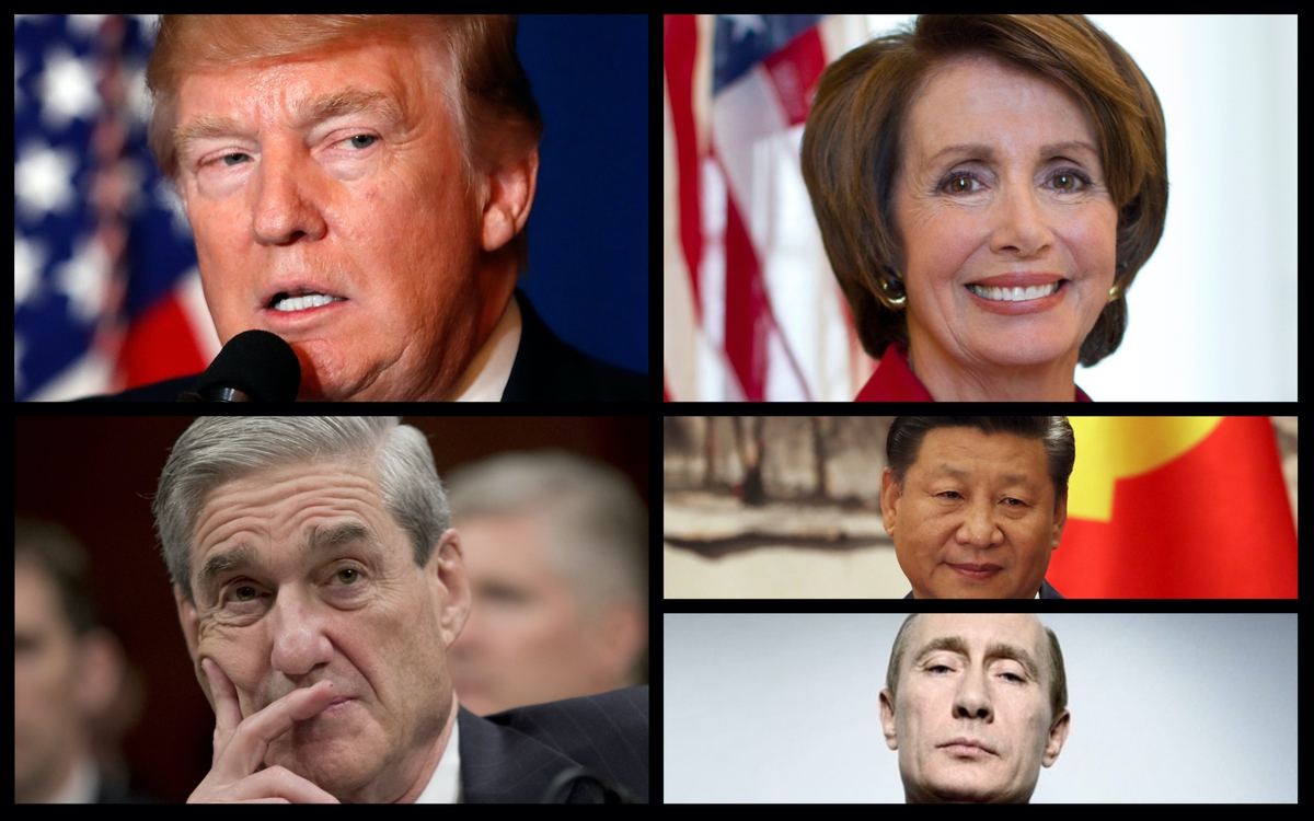 From top left: Donald Trump, Nancy Pelosi, Robert Mueller, Xi Jinping, Vladimir Putin (AP)