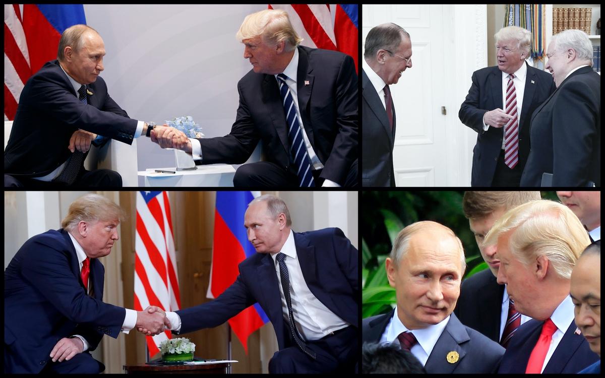President Donald Trump, Russian President Vladimir Putin, Russian Foreign Minister Sergey Lavrov, and Former Sergey Kislyak (AP)