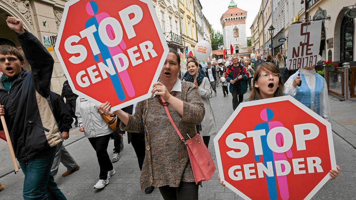 Anti-Gender protestors rally in Poland.