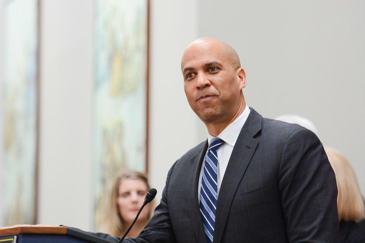 Senator Cory Booker at a press conference on expanding social security - February 2019. (AFGE)
