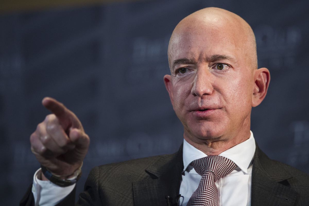 Jeff Bezos, Amazon founder and CEO, speaks at The Economic Club of Washington's Milestone Celebrtion in Washington, Thursday, Sept. 13, 2018. (AP Photo/Cliff Owen)