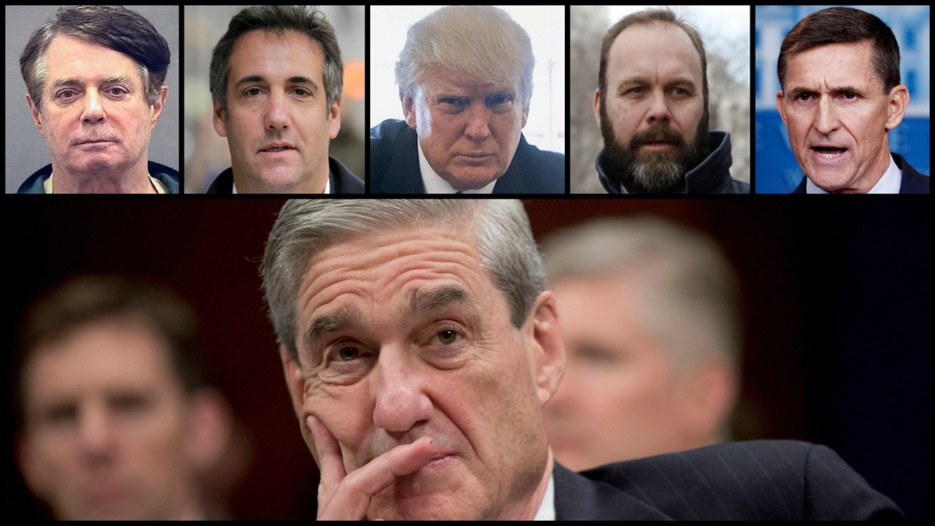 Paul Manafort, Michael Cohen, Donald Trump, Rick Gates, Michael Flynn, and Donald Trump (AP)