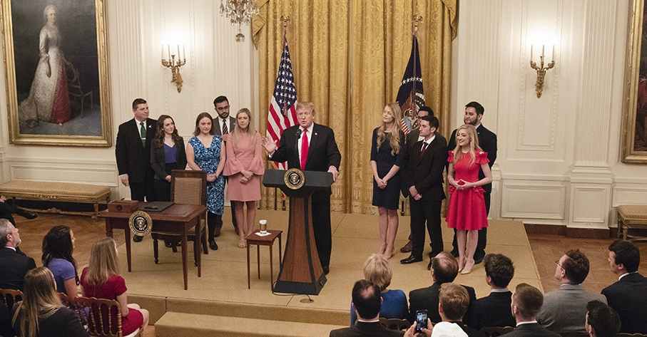 President Trump delivers remarks prior to signing an executive order promoting free speech on college campuses in the East Room of the White House. - Thursday, March 21, 2019 (Official White House Photo by Joyce N. Boghosian)