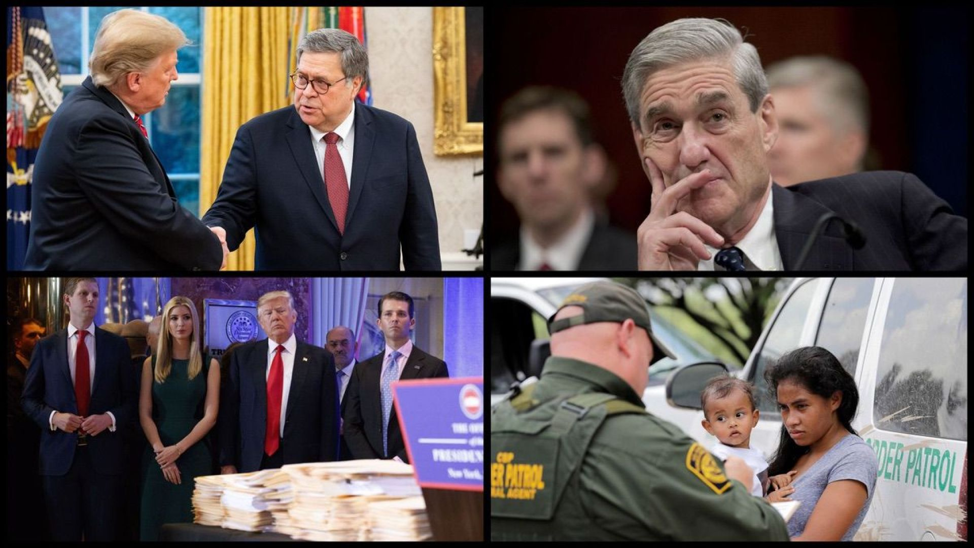 From top left: Attorney General William Barr, Special Counsel Robert Mueller, Trump family, and a migrant mother and daughter (AP)