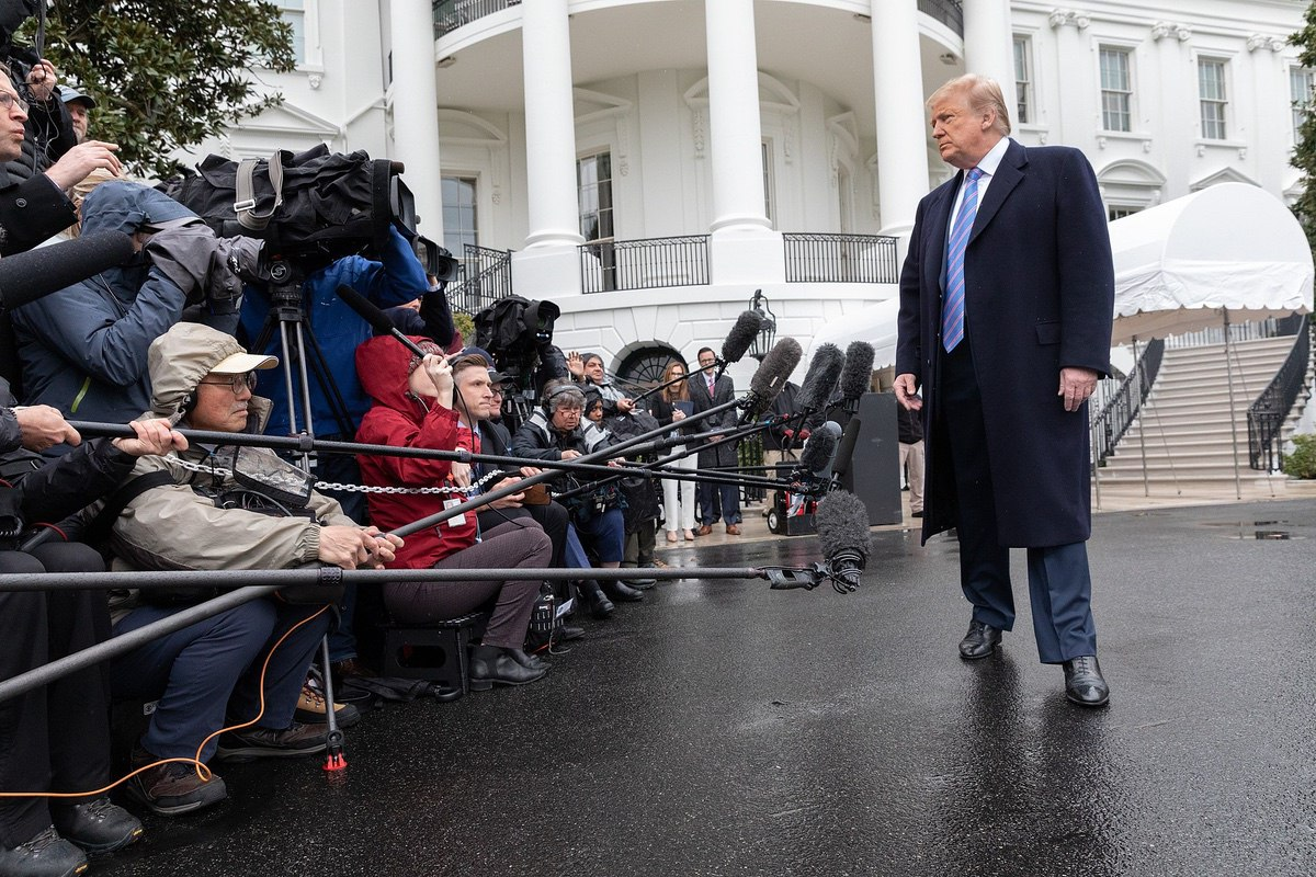 President Donald J. Trump speaks with reporters Friday, morning, April 5, 2019, outside the South Portico entrance of the White House, prior to leaving for his visit to Calexico, Calif. (Official White House Photo by Joyce N. Boghosian)