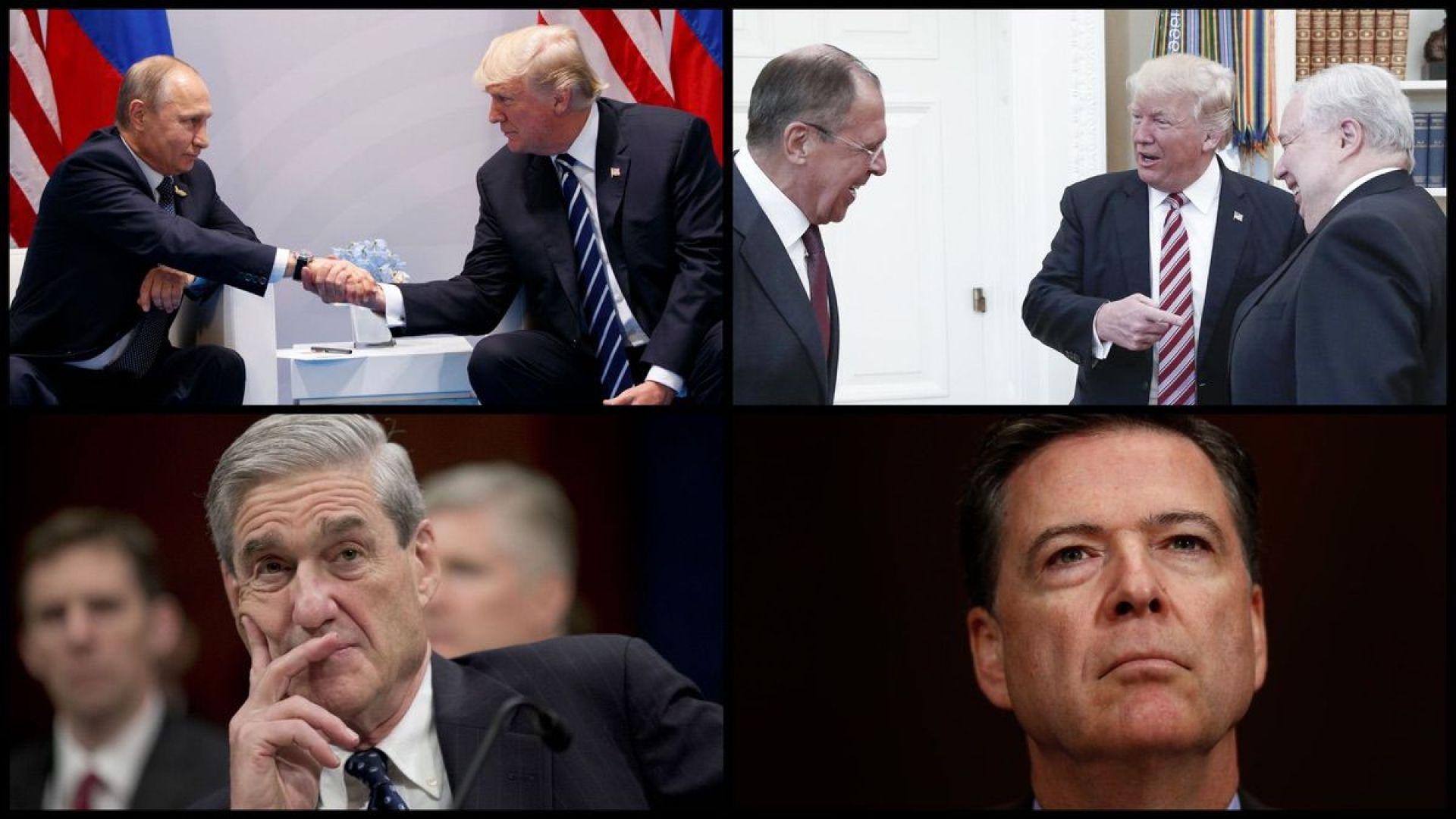 President Donald Trump, Russian President Vladimir Putin, Russian Foreign Minister Sergey Lavrov, Former Russian Ambassador Sergey Kislyak, Special Counsel Robert Mueller, and FBI Director James Comey (AP)