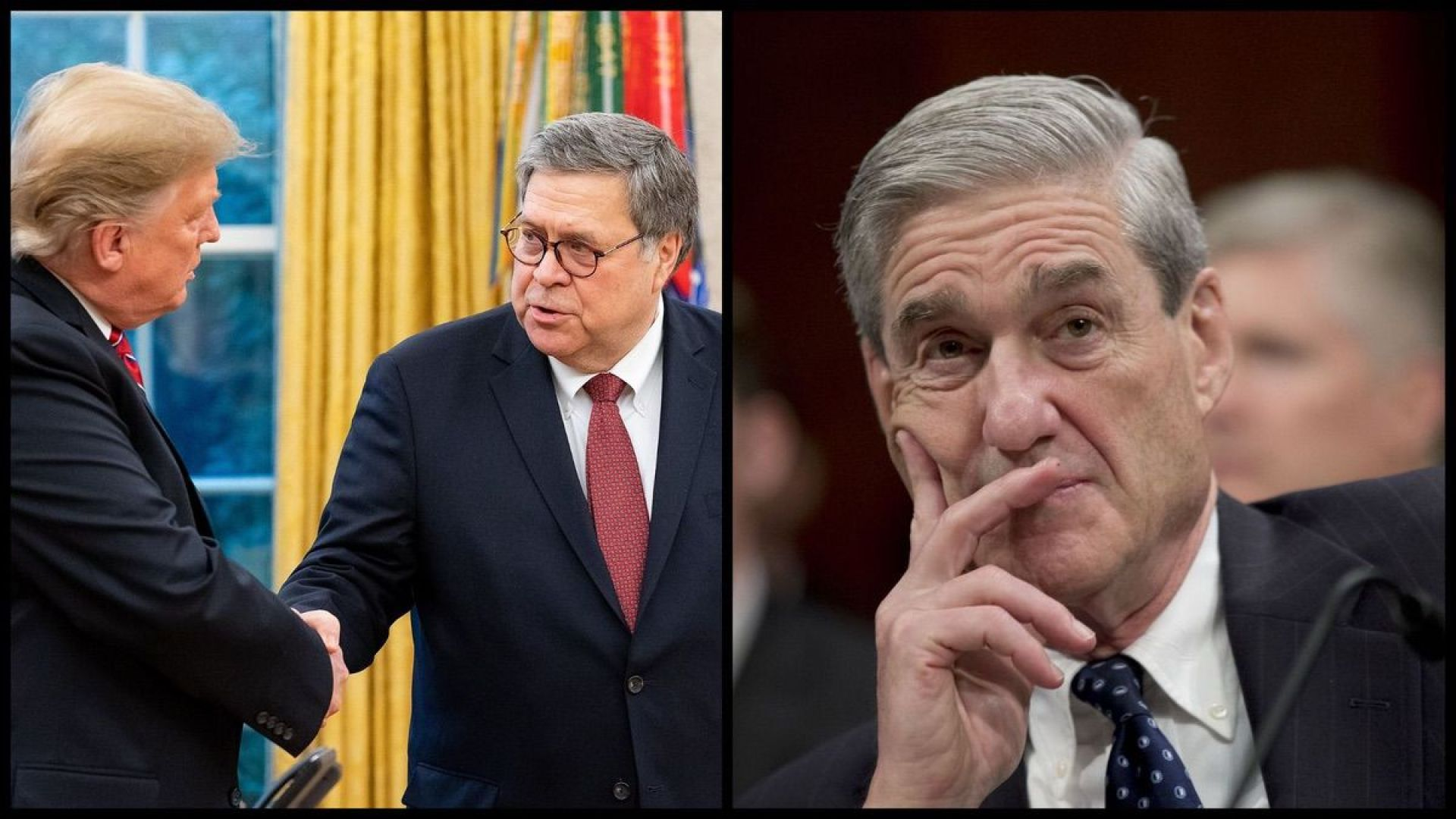 Left: President Donald Trump shaking Attorney General William Barr's hand. Right: Special Counsel Robert Mueller (DOJ/AP)