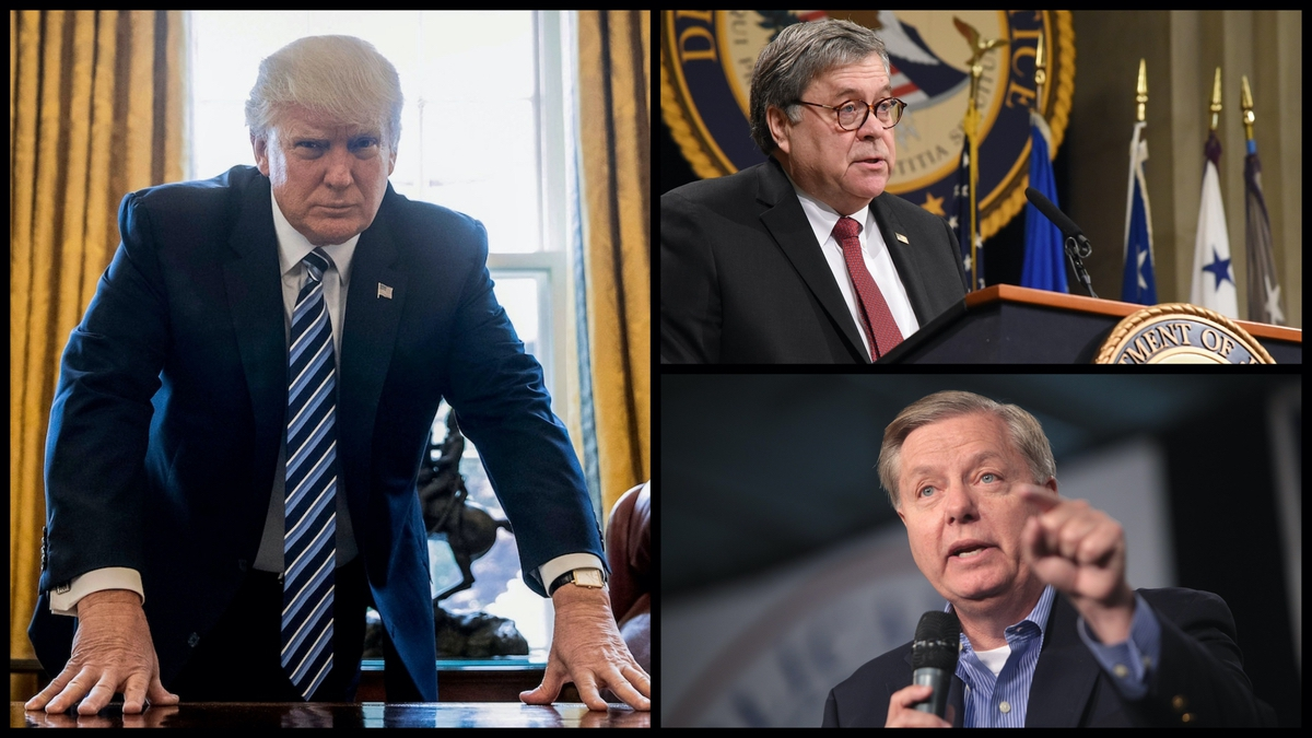 President Donald Trump, Attorney General William Barr, Senator Lindsey Graham (R-SC) (AP/Public Domain)