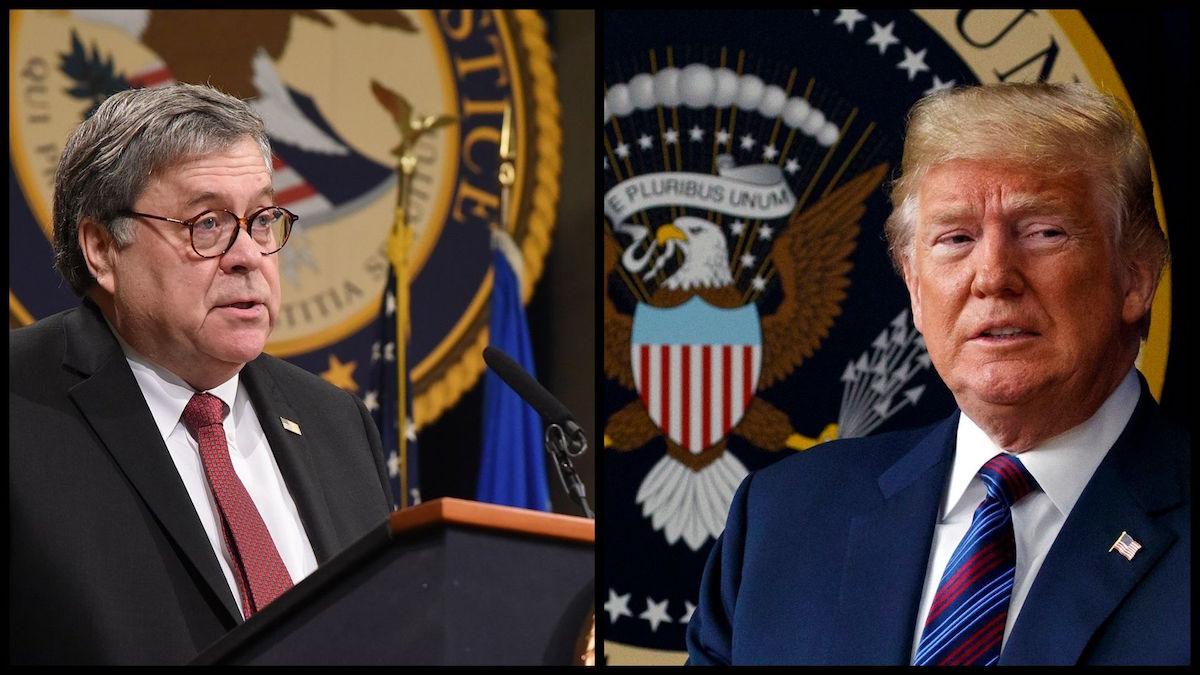 Attorney General William Barr and President Donald Trump (DOJ/AP)