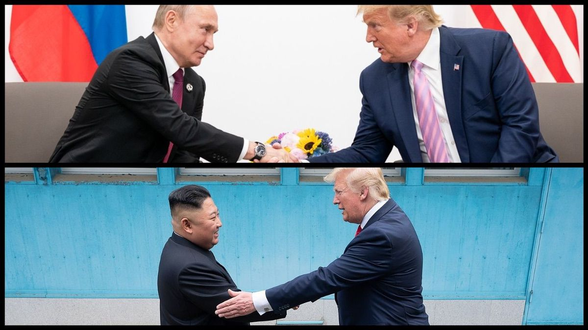 Russian President Vladimir Putin shaking hands with President Trump at the G20 summit (June 28, 2019) and North Korean Dictator Kim Jong Un shaking hands with President Trump on the North Korean border (June 30, 2019) – Official White House Photos