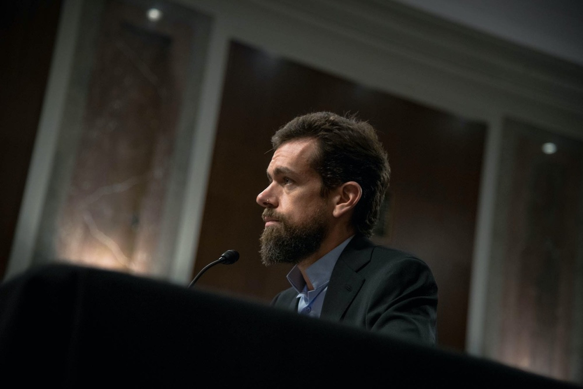 Twitter Co-Founder and CEO Jack Dorsey testifying before the Senate Intelligence Committee - September 5, 2018. (Source: Senator Mark Warner's Team)