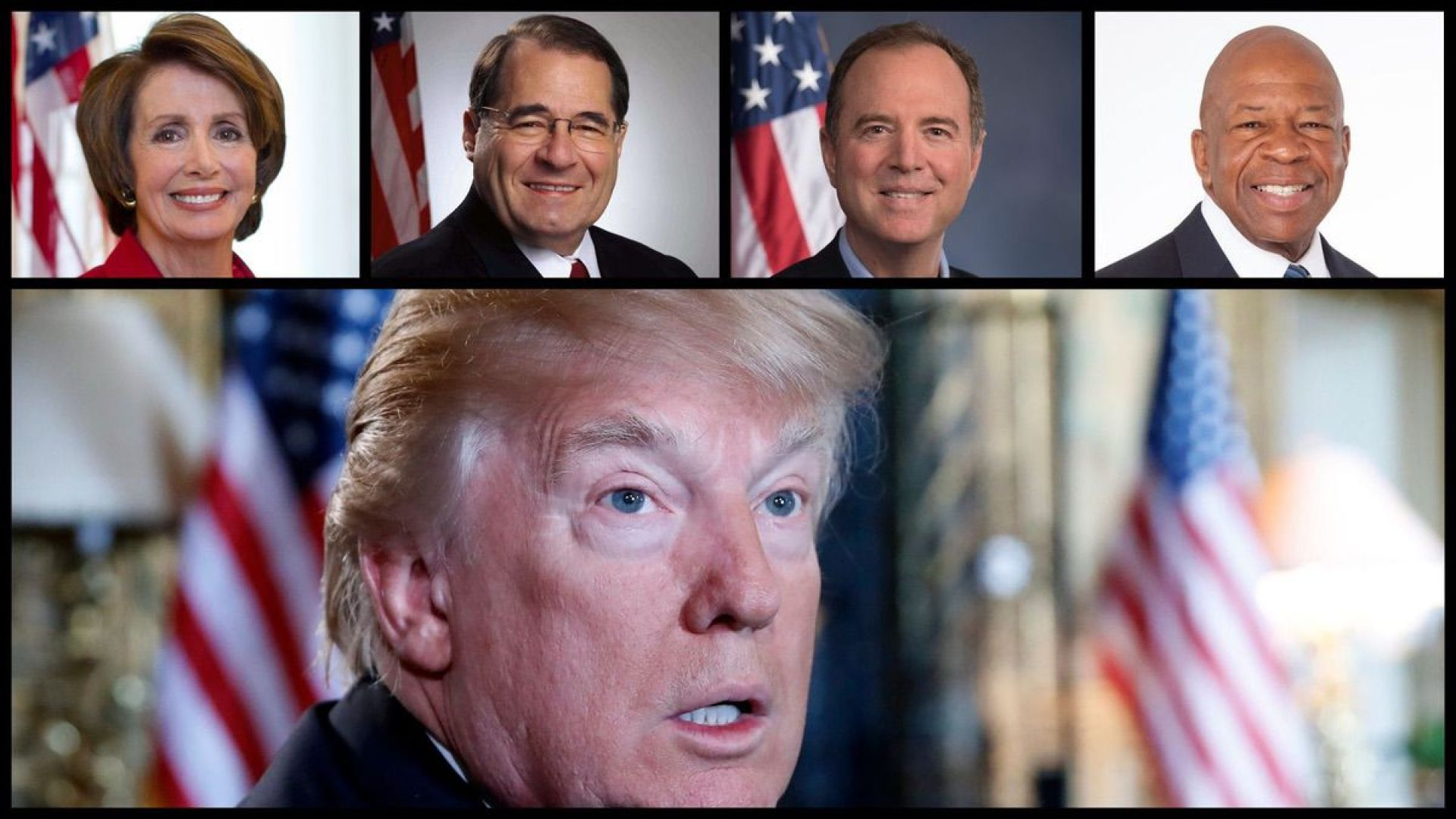 Speaker of the House Nancy Pelosi (D-CA), House Judiciary Chairman Jerry Nadler (D-NY), House Intelligence Chairman Adam Schiff (D-CA), House Oversight Chairman Elijah Cummings (D-MD), and President Donald Trump - Official Photos and AP