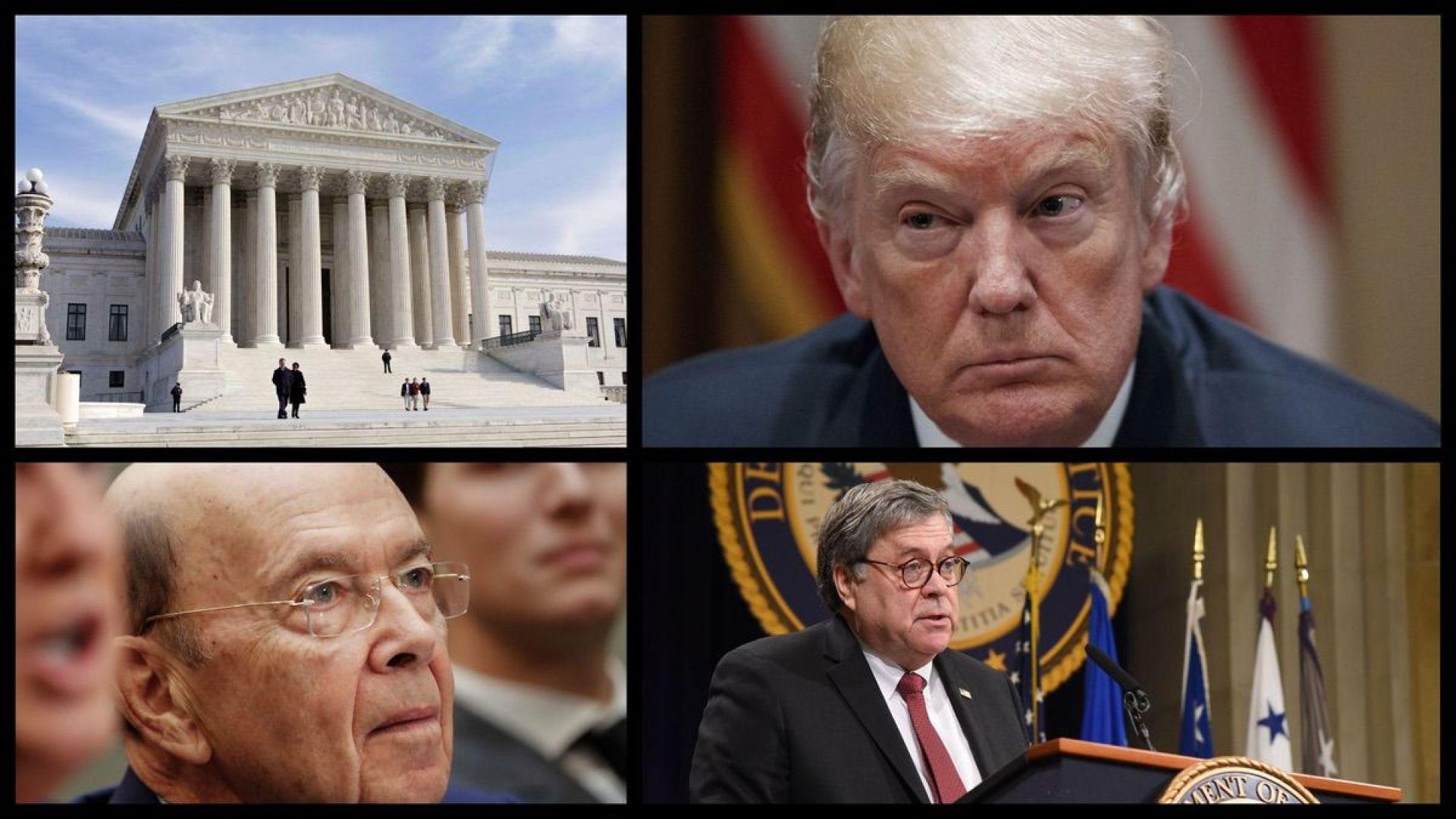 Supreme Court, President Trump, Commerce Secretary Wilbur Ross, and Attorney General William Barr (AP/DOJ)