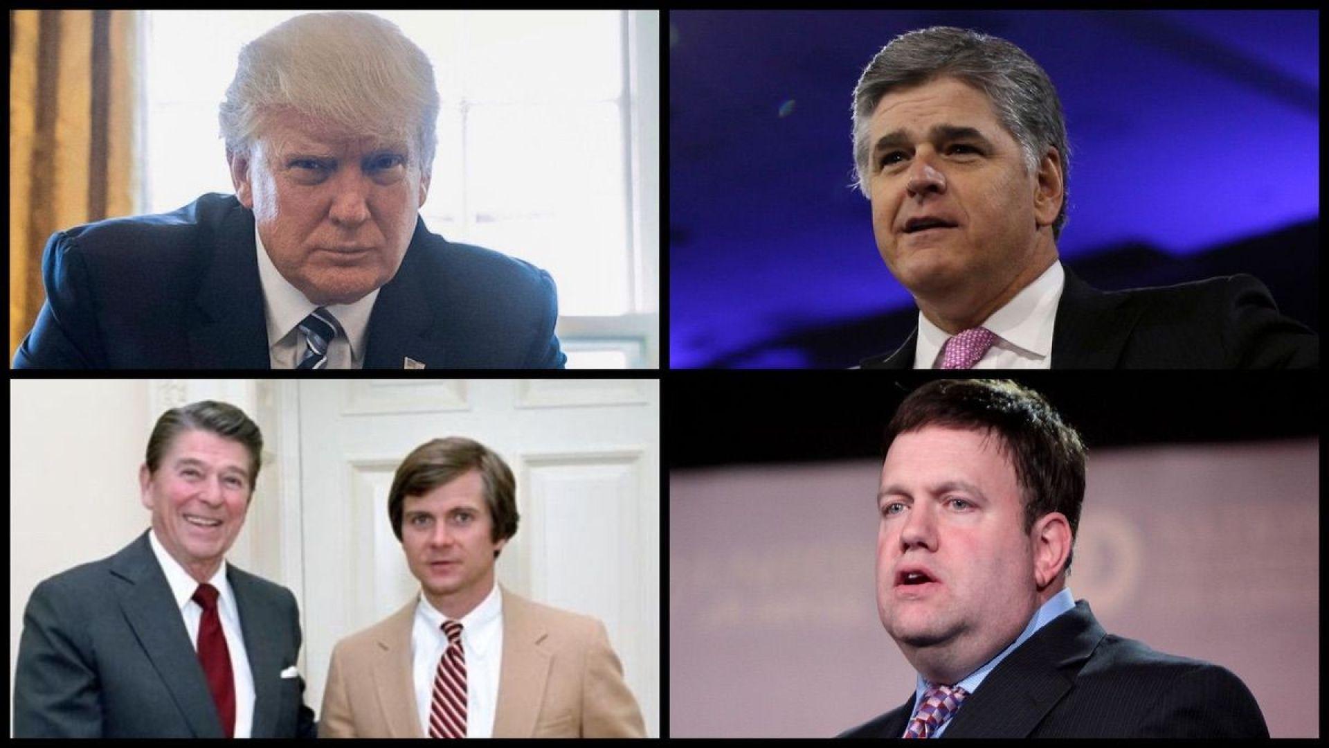 President Trump (AP), Fox News Anchor Sean Hannity (AP), President Reagan and GOP Strategist Lee Atwater (Bill Fitz-Patrick), and GOP Strategist Frank Luntz (Gage Skidmore)