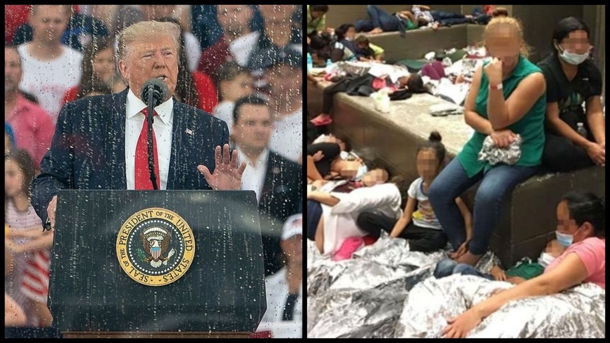 Left: President Trump speaking at the Salute to America event Thursday, July 4, 2019, at the Lincoln Memorial in Washington, D.C. (Official White House Photo by Joyce N. Boghosian). Right: Overcrowding of families observed by OIG on June 11, 2019, at Border Patrol's McAllen, TX, Centralized Processing Center. (DHS Office of the Inspector General)