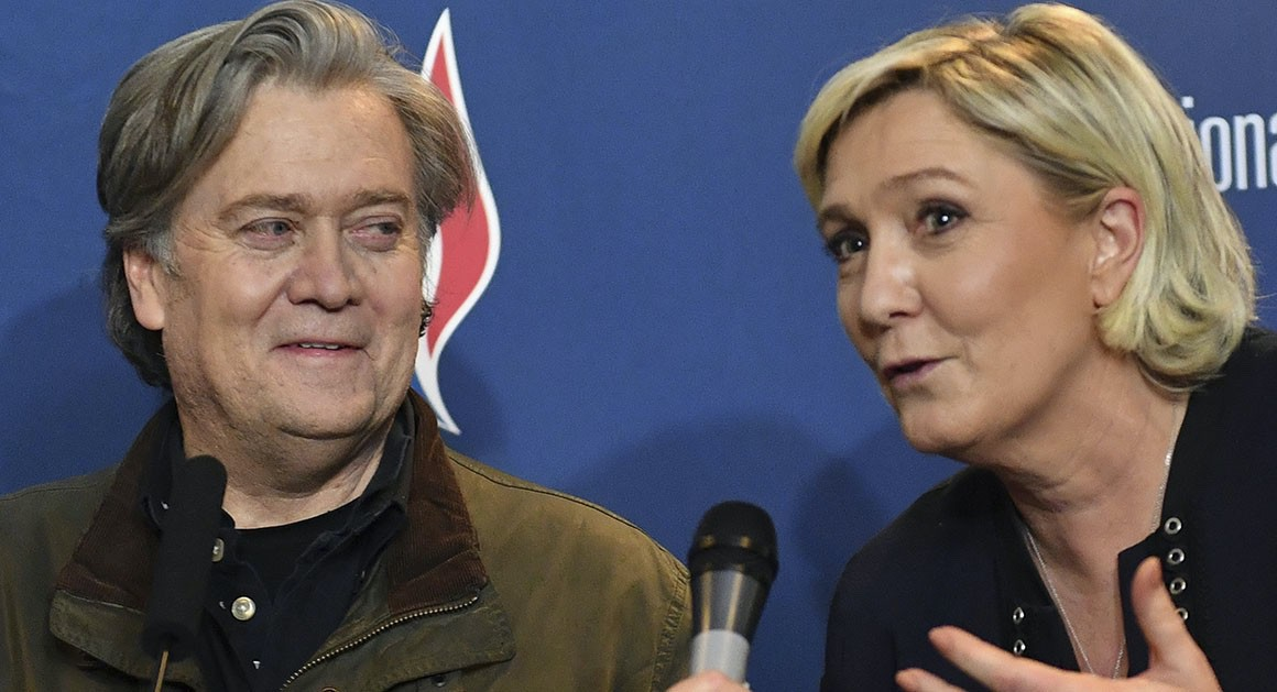 Former White House Chief Strategist Steve Bannon and French Politician Marine Le Pen (AP)