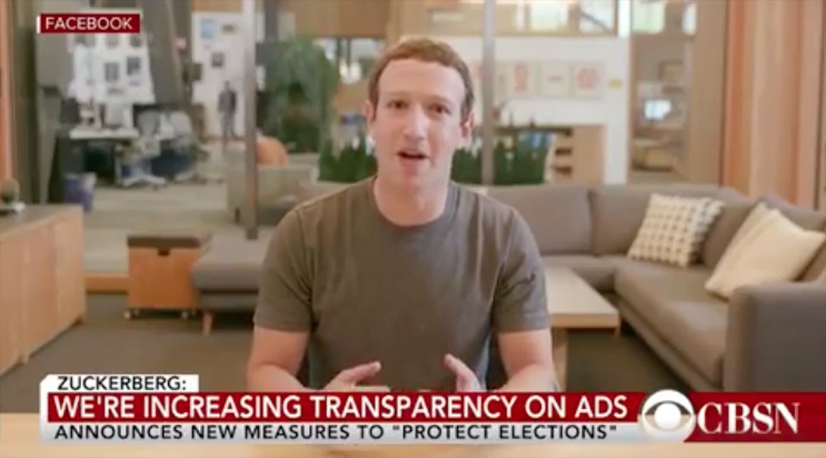 Screenshot of a deepfake video featuring Mark Zuckerberg