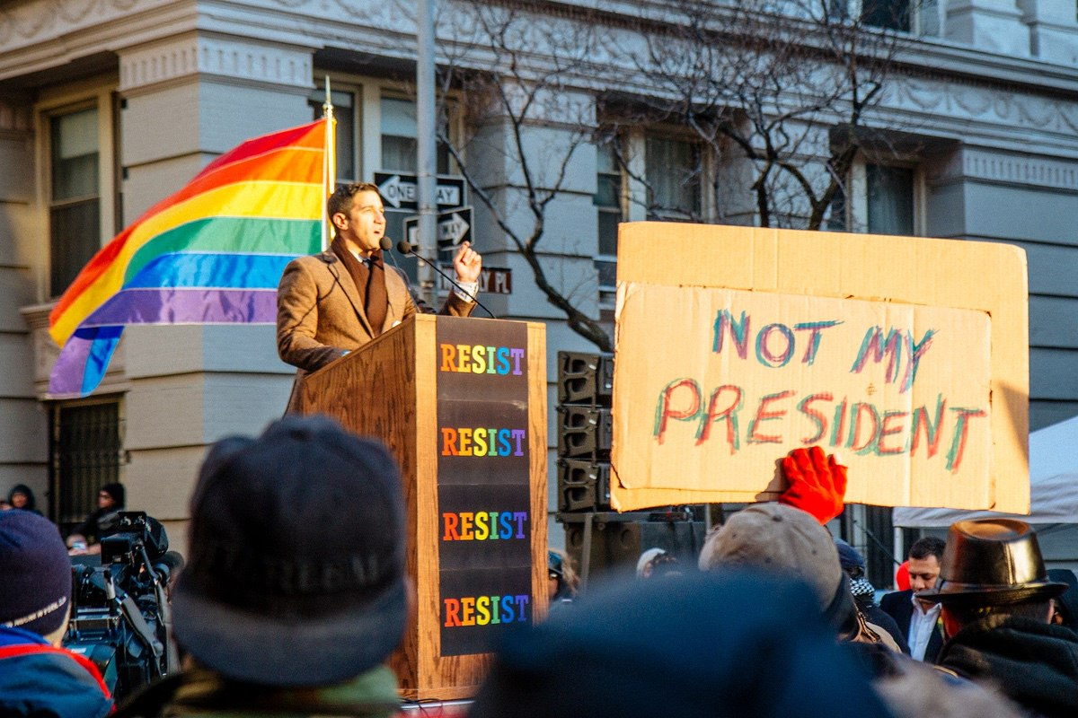 LGBT Solidarity Rally in front of the Stonewall Inn in solidarity with every immigrant, asylum seeker, refugee and every person impacted by Donald Trump's executive orders. (LGBT Solidarity Rally)
