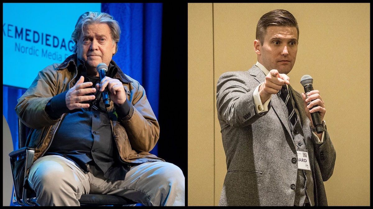 Left: Steve Bannon, May 9, 2019 (Source: Jarle H. Moe/Nordiske Mediedager) Right: Richard Spencer at the Ronald Reagan Building, Washington, D.C., on November 19, 2016 (Source: Richard Spencer)