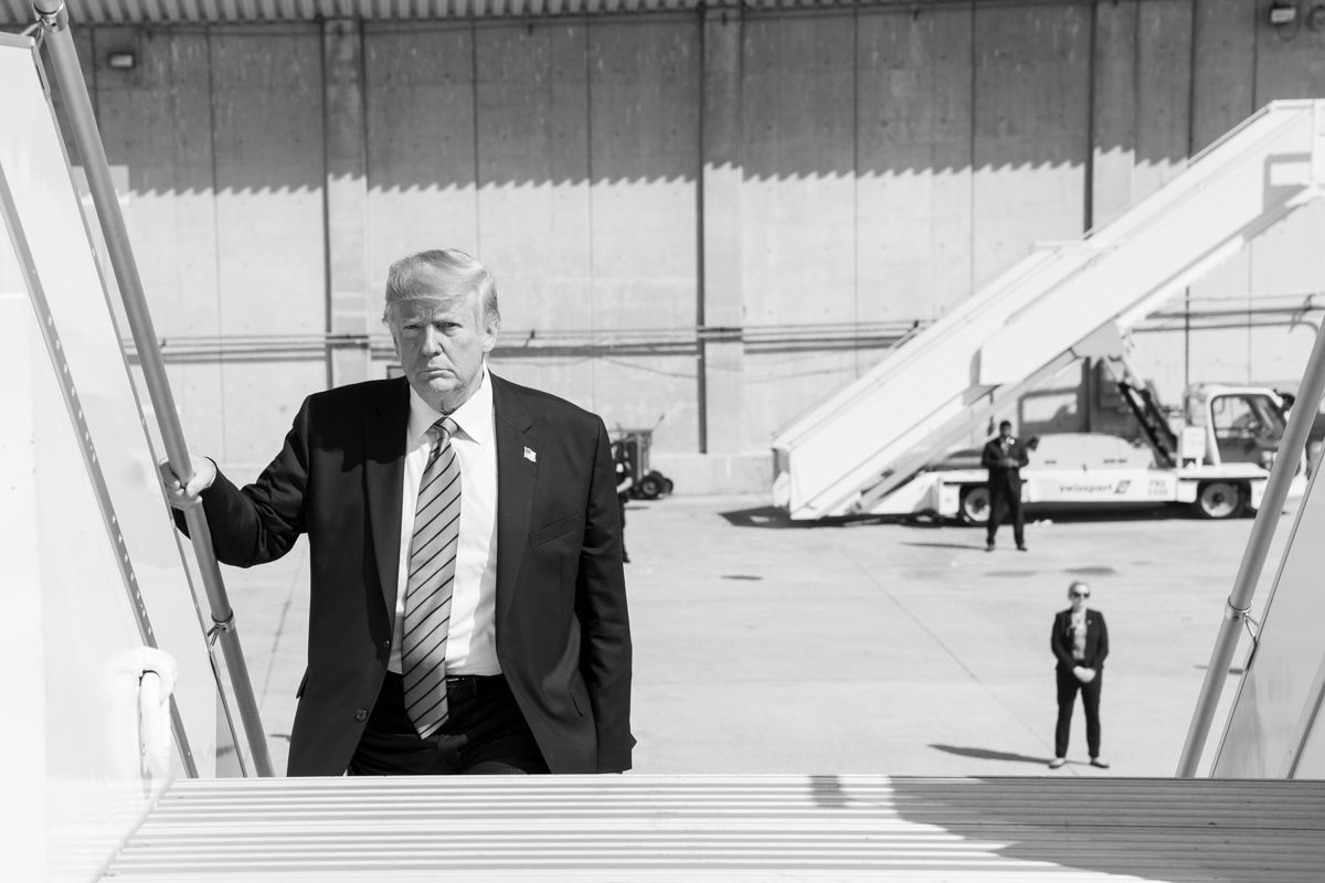 President Donald J. Trump boards Air Force One Thursday, Sept. 25, 2019, en route to Joint Base Andrews, Md. (Official White House Photo by Shealah Craighead)