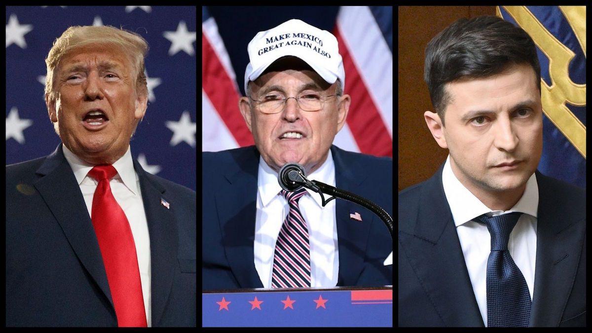 President Trump (AP), Trump's Personal Lawyer Rudy Giuliani (Gage Skidmore/Flickr), and Ukrainian President Volodymyr Zelensky (Vadim Chuprina)