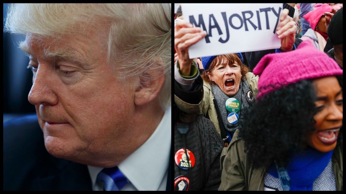 President Trump and protestors from the January 2017 Women's March (AP)