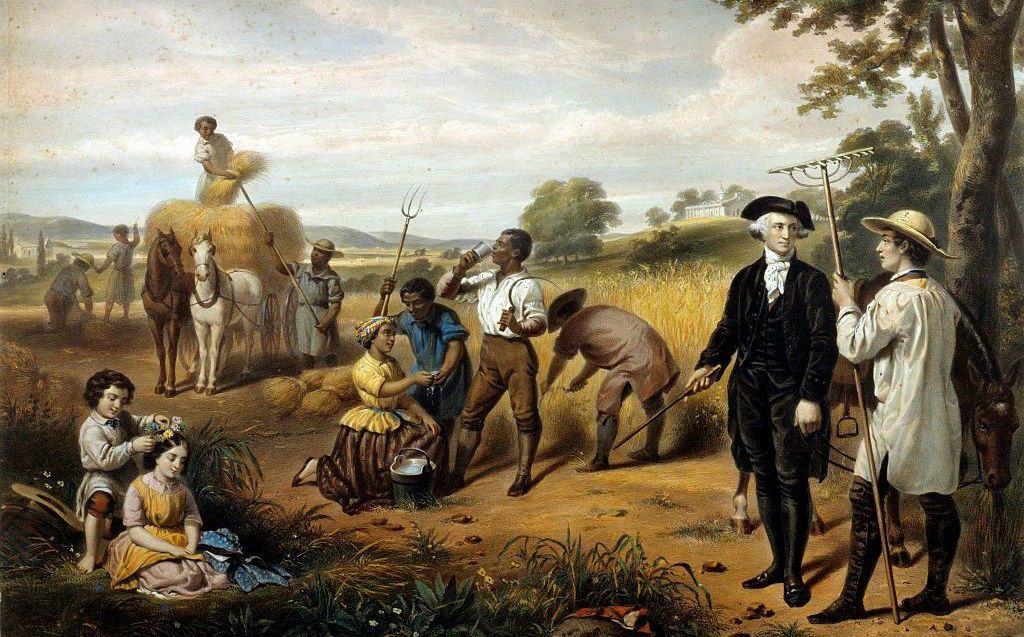 Washington standing among African-American field workers; Mt. Vernon in background. Hand-colored lithograph by Régnier (lithographer), after a painting by Junius Brutus Stearns (1810-1885). Printed by Lemercier, Paris (printer) - Library of Congress Prints and Photographs Division