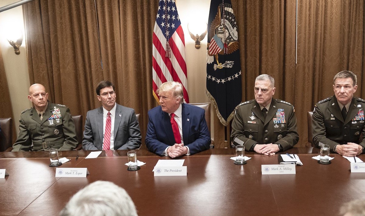 President Donald J. Trump, joined by the Chairman of the Joint Chiefs of Staff General Mark A. Milley, attends a briefing with senior military leaders Monday, Oct. 7, 2019, in the Cabinet Room of the White House. (Official White House Photo by Shealah Craighead)