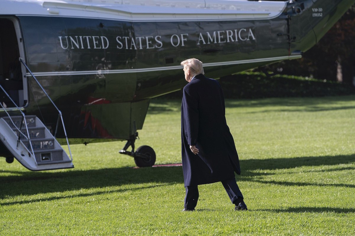 President Donald J. Trump walks across the South Lawn of the White House Friday, Nov. 8, 2019, to board Marine One to begin his trip to Atlanta, Ga. (Official White House Photo by Joyce N. Boghosian)