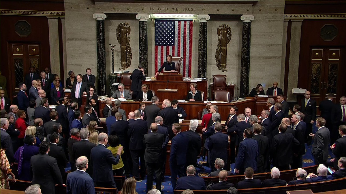 United States House of Representatives votes to adopt the articles of impeachment, accusing Donald Trump of abuse of power and obstruction of Congress - December 18, 2019. (Clerk of the U.S. House of Representatives)