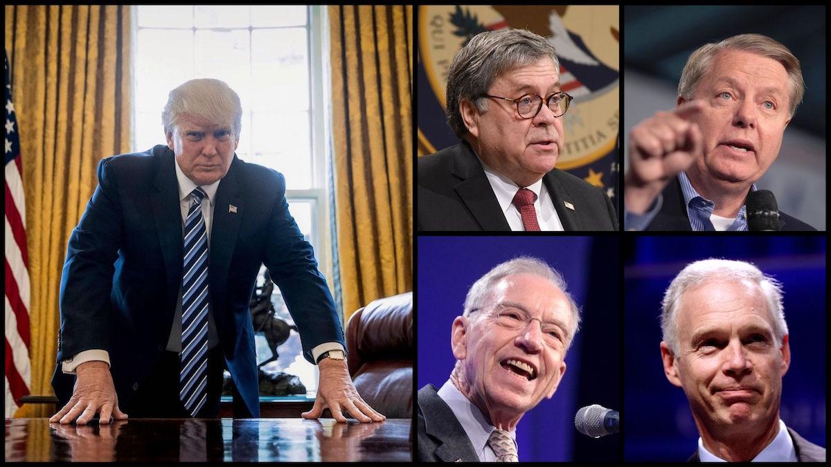 President Donald Trump (Source: AP), Attorney General William Barr (Source: DOJ), Senator Lindsey Graham, Senator Chuck Grassley, and Senator Ron Johnson (Source: Gage Skidmore)