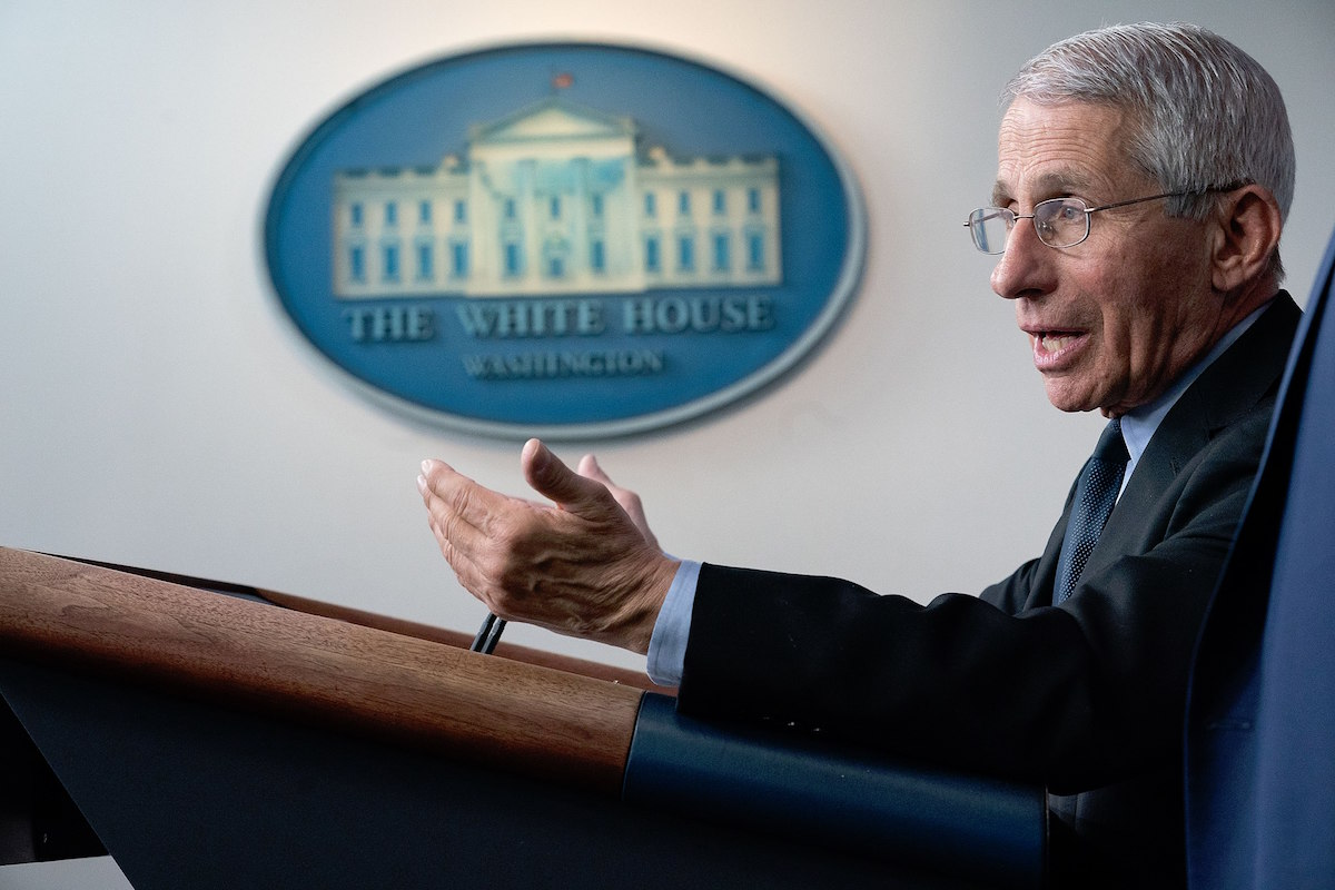 Dr. Anthony S. Fauci, director of the National Institute of Allergy and Infectious Diseases and a member of the White House Coronavirus Taskforce, addresses his remarks at a coronavirus update briefing Monday, March 16, 2020, in the James S. Brady Press Briefing Room of the White House. (Official White House Photo by D. Myles Cullen)