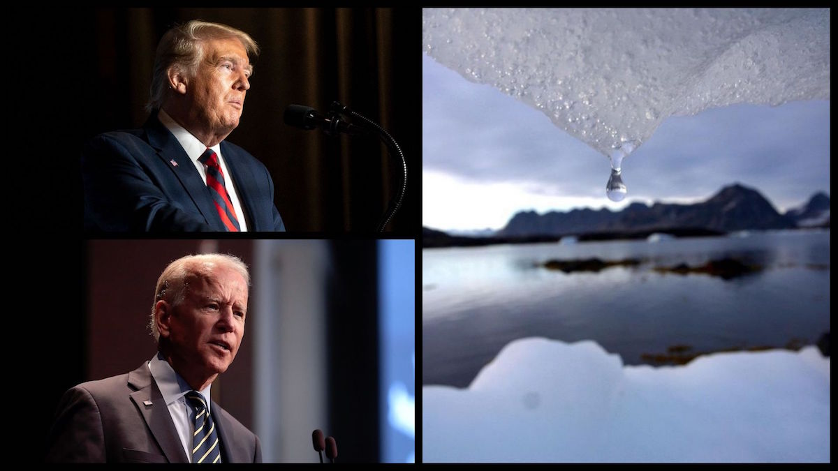 President Donald Trump (Official White House Photo Shealah Craighead), former Vice President Joe BIden (Gage Skidmore/Creative Commons), and an iceberg melts in Kulusuk, Greenland near the arctic circle on Aug, 16, 2005 (AP/John McConnico)