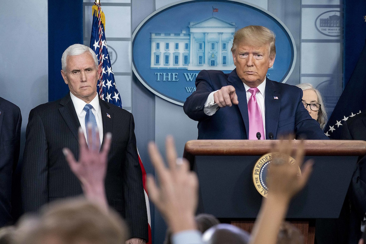 President Donald J. Trump, joined by Vice President Mike Pence and members of the Coronavirus Task Force, speaks to members of the press Wednesday, Feb. 26, 2020, in the James S. brady Press Briefing Room of the White House. (Official White House Photo by D. Myles Cullen)