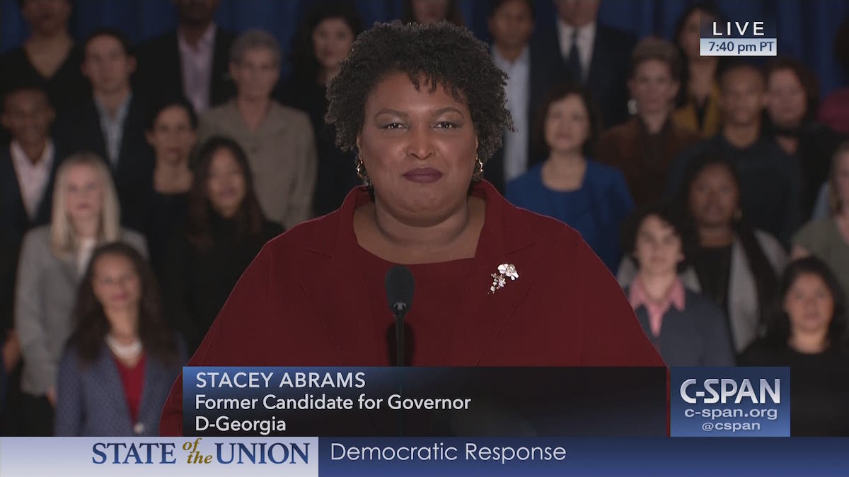Stacey Abrams delivering the Democratic response to President Trump's State of the Union Address on February 5, 2019 (CSPAN)