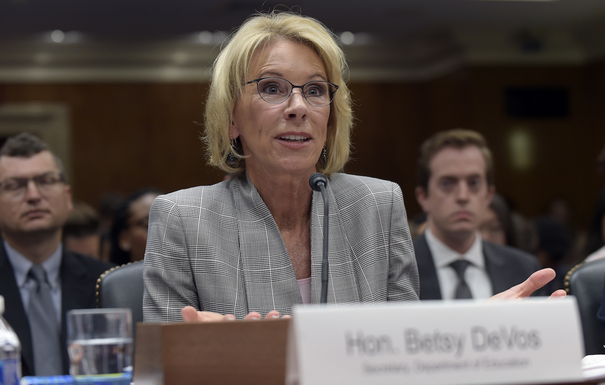 Education Secretary Betsy DeVos testifies on Capitol Hill in Washington, Tuesday, June 6, 2017, before the Senate Appropriations Committee. (AP Photo/Susan Walsh)
