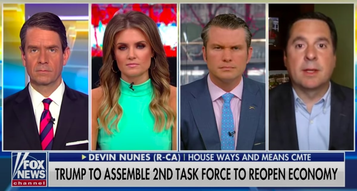 Fox News hosts and Rep. Devin Nunes (R-CA) – April 11, 2020 (Source: Fox News)