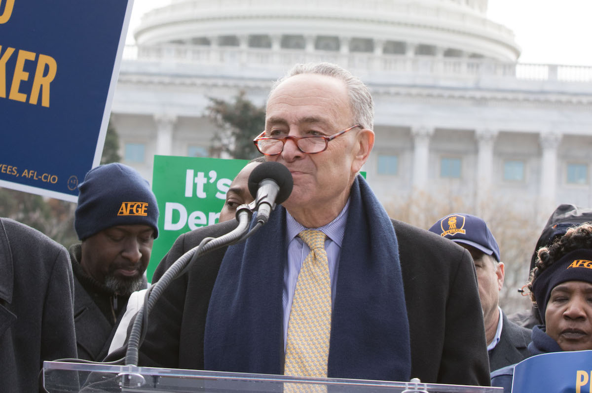 Senate Minority Leader Chuck Schumer – February 14, 2018. (Keith Mellnick/AFGE/Creative Commons License)