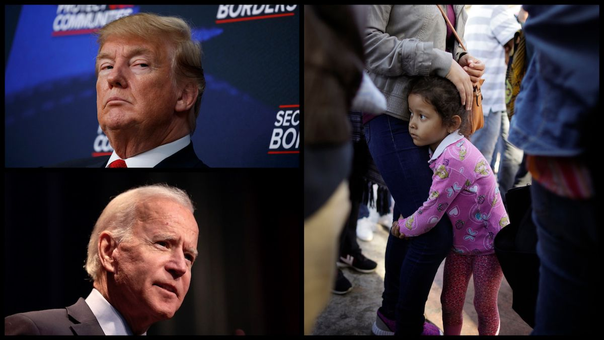 President Donald Trump (AP), Former Vice President Joe Biden ((Gage Skidmore/CC BY-SA), and migrants waiting to request political asylum in the United States, across the border in Tijuana, Mexico – June 13, 2018 (AP Photo/Gregory Bull).
