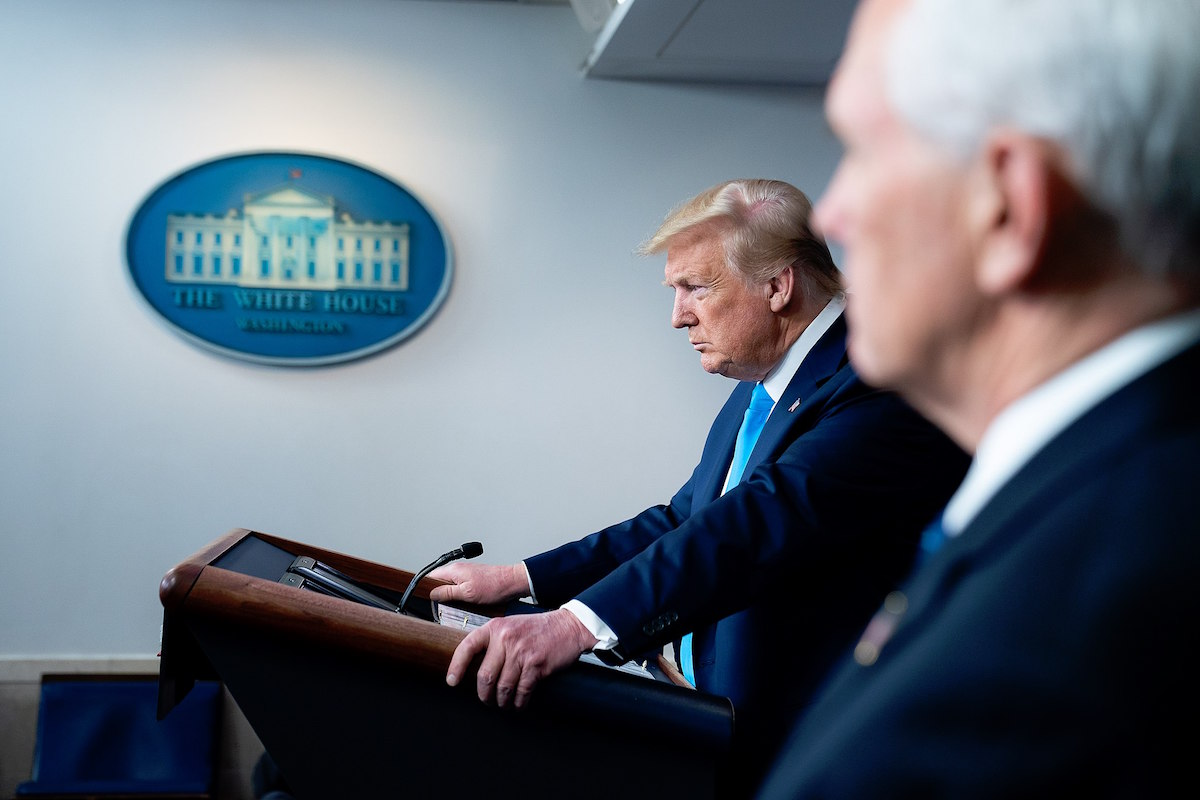 President Donald J. Trump delivers remarks and answers questions from members of the press Tuesday, April 7, 2020, in the James S. Brady White House Press Briefing Room. (Official White House Photo by Tia Dufour)