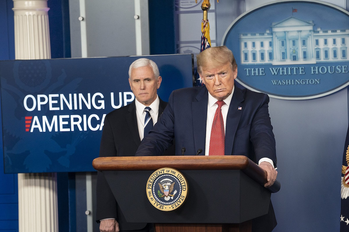 President Donald J. Trump, joined by Vice President Mike Pence and members of the White House COVID-19 Coronavirus task force – – Thursday, April 16, 2020. (Official White House Photo by Joyce N. Boghosian)