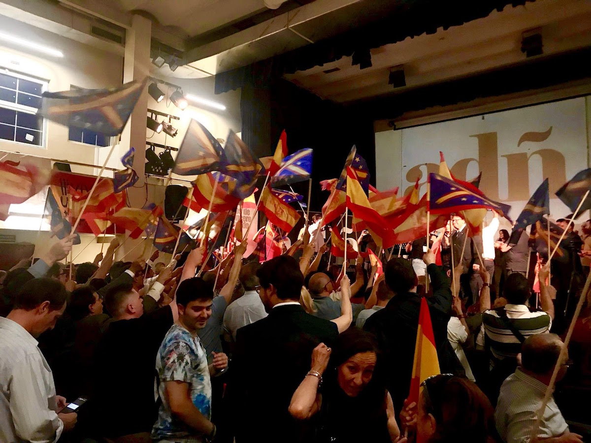 Gathering of the fascist and far-right coalition ADÑ (Ante Todo España) in May 2019. Photo by Louie Dean Valencia-García.