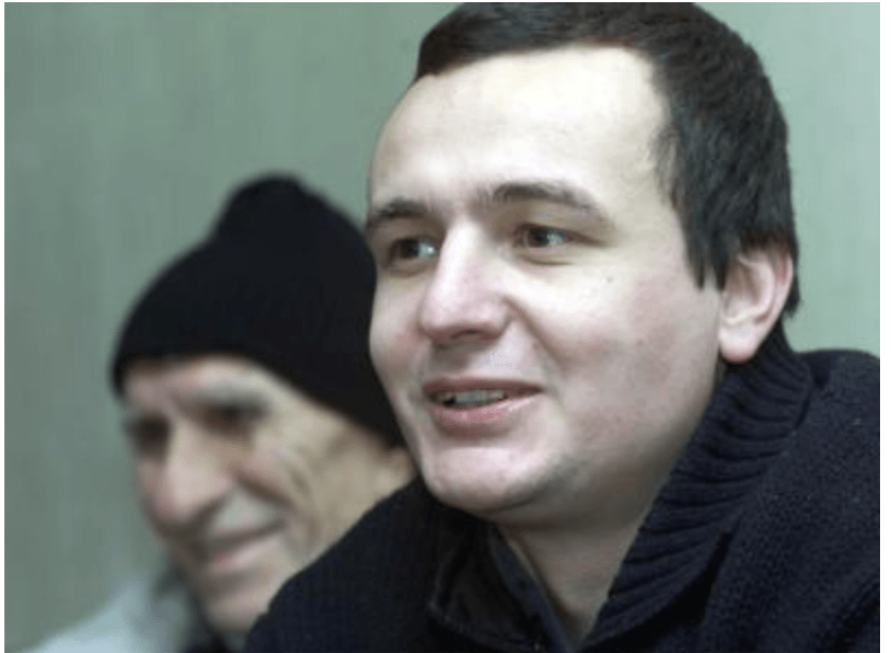 Albin Kurti when released from prison in Serbia, 2001.