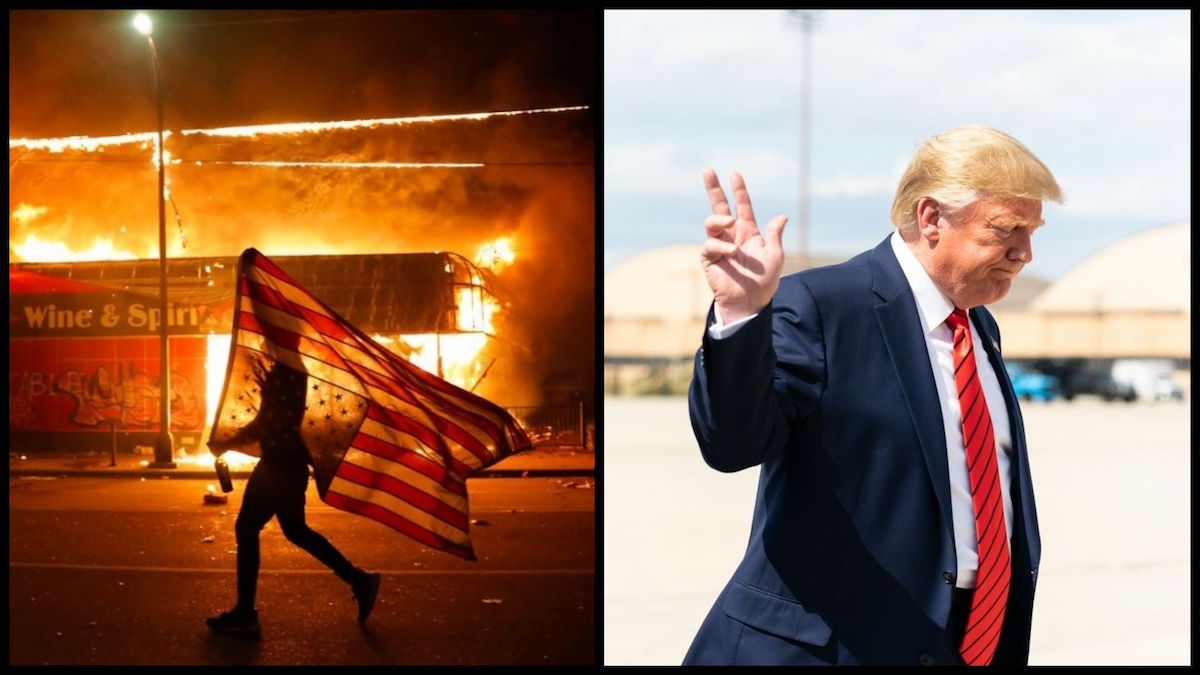A protester carries a U.S. flag upside down, a sign of distress, next to a burning building Thursday, May 28, 2020, in Minneapolis. (AP Photo/Julio Cortez) and President Donald J. Trump (Official White House Photo by Shealah Craighead)