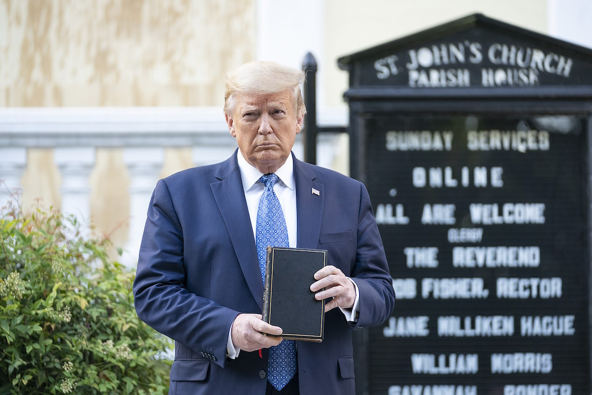 President Donald J. Trump walks from the White House Monday evening, June 1, 2020, to St. John's Episcopal Church after brutalizing protestors LaFayette Square. (Official White House Photo by Shealah Craighead)