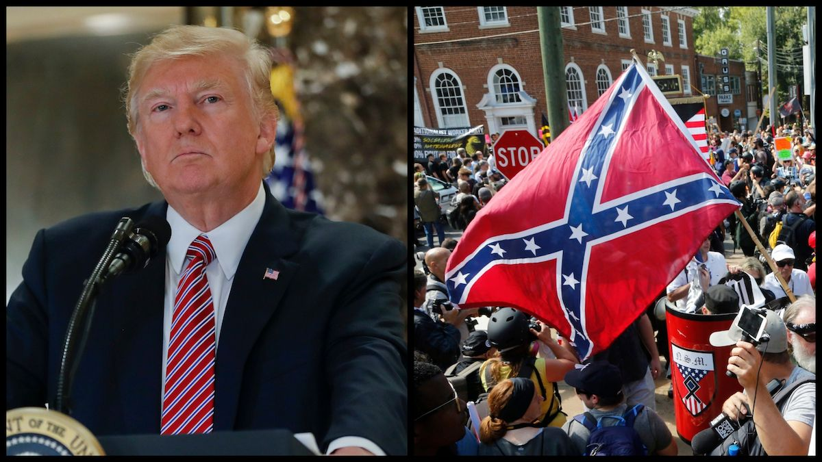 From Left: President Donald Trump at a press conference in Trump Tower in the aftermath of the Charlottesville rallies, Tuesday, Aug. 15, 2017 in New York. Right: White supremacists rallying in Charlottesville, VA. (AP)
