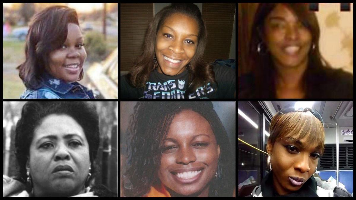 From top left: Breonna Taylor, Sandra Bland, Bettie Jones, Fannie Lou Hamer, Natasha McKenna, and BB Hill.